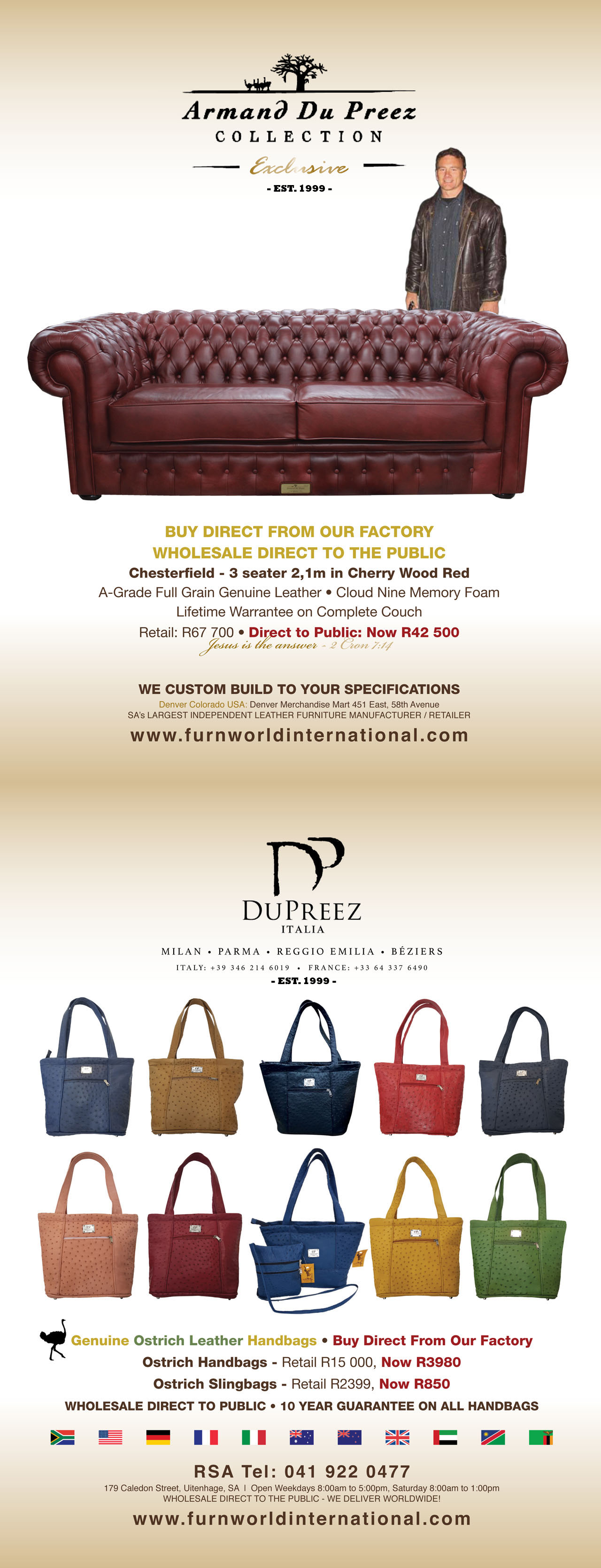 Genuine Leather Handbags Armand Du Preez Collection Whole Direct To The Public